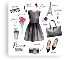 Paris style fashion illustrations Canvas Print