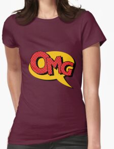 Comics Bubble with Expression OMG in Vintage Style Womens Fitted T-Shirt