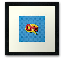 Comics Bubble with Expression OMG in Vintage Style Framed Print