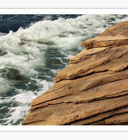 Layers of Rock at the Ocean's Edge Sticker