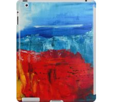 Red Flowers Blue Mountains Abstract Landscape iPad Case/Skin