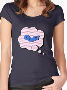 Comics Bubble with Expression Oops in Vintage Style Women's Fitted Scoop T-Shirt
