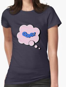 Comics Bubble with Expression Oops in Vintage Style Womens Fitted T-Shirt