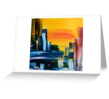City Sunrise Contemporary Abstract Cityscape Greeting Card