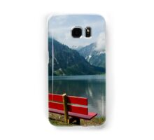 Red bench with a view Samsung Galaxy Case/Skin