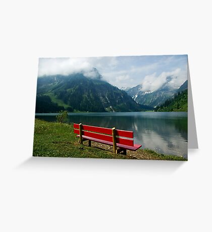 Red bench with a view Greeting Card