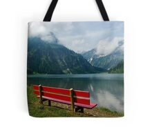 Red bench with a view Tote Bag