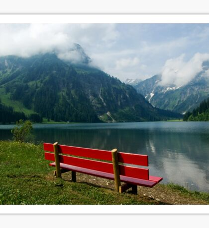 Red bench with a view Sticker