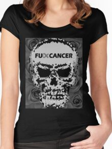 Fuck Cancer // Pixel Skull // Flowers  Women's Fitted Scoop T-Shirt