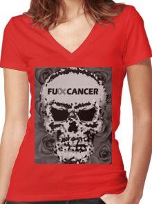 Fuck Cancer // Pixel Skull // Flowers  Women's Fitted V-Neck T-Shirt