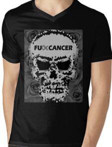 Fuck Cancer // Pixel Skull // Flowers  Mens V-Neck T-Shirt