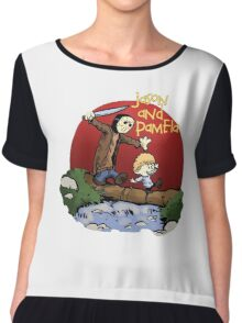 calvin and hobbes meets jason Chiffon Top