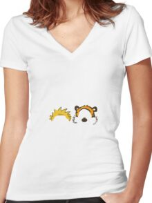 calvin and hobbes head Women's Fitted V-Neck T-Shirt