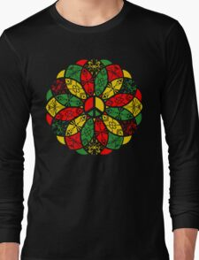 Ornamental Peace Mandala - Rasta Colours Long Sleeve T-Shirt