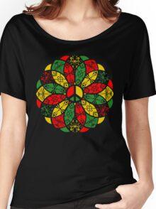 Ornamental Peace Mandala - Rasta Colours Women's Relaxed Fit T-Shirt