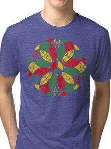 Ornamental Peace Mandala - Rasta Colours Tri-blend T-Shirt