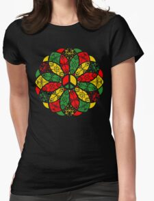 Ornamental Peace Mandala - Rasta Colours Womens Fitted T-Shirt