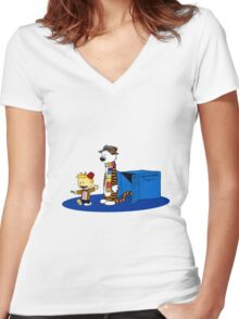 calvin and hobbes meets tardis box Women's Fitted V-Neck T-Shirt