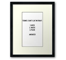 beer, music, pizza Framed Print