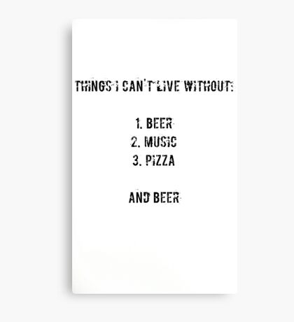beer, music, pizza Canvas Print