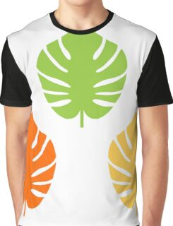 Beautiful Colorful Exotic Leaves CollectionExotic leaves set. Vector cartoon Illustration Graphic T-Shirt