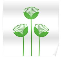 Beautiful simple Flowers line art: green + white Poster