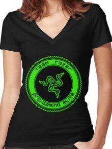 Old Team Razer Logo Women's Fitted V-Neck T-Shirt