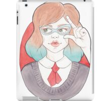 Nerdy, Blue-Haired Minerva in Vintage Glasses iPad Case/Skin
