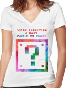 Expecting a Mario or a Peach? Women's Fitted V-Neck T-Shirt