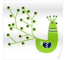 Vibrant Peacock character. Green & Blue Poster