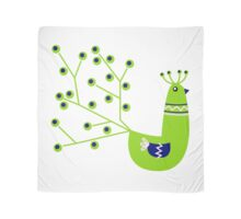Vibrant Peacock character. Green & Blue Scarf