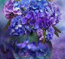 Hydrangeas In Hydrangea Vase by Carol  Cavalaris