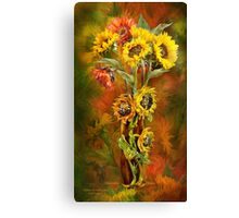 Sunflowers In Sunflower Vase Canvas Print