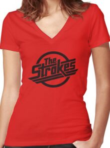 The Strokes Rock Band Women's Fitted V-Neck T-Shirt