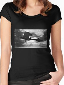 Early Airplane Flight - Backlit Women's Fitted Scoop T-Shirt