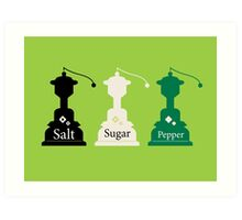 Beautiful colorful Salt, Sugar and Pepper set Art Print