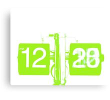 Acid Green Vintage Clock Canvas Print