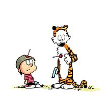 Calvin And Hobbes playing Photographic Print