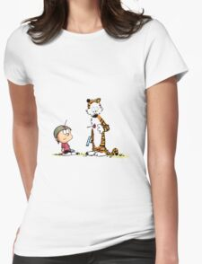 Calvin And Hobbes playing Womens Fitted T-Shirt