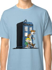 calvin and hobbes police box in action Classic T-Shirt