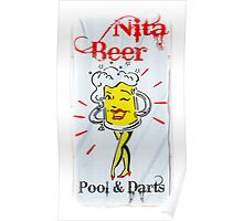 Nita Beer Sign with White Frame Poster