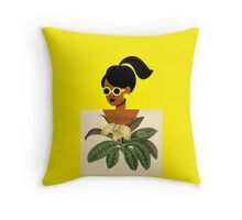 Ponytail Girl with Nature Shirt Throw Pillow