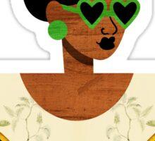 Green Glasses Postcard Girl Sticker