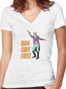 Ham Shot First Women's Fitted V-Neck T-Shirt