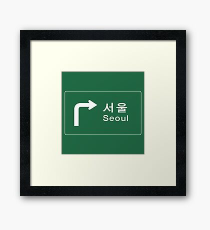 Seoul, Road Sign, South Korea Framed Print