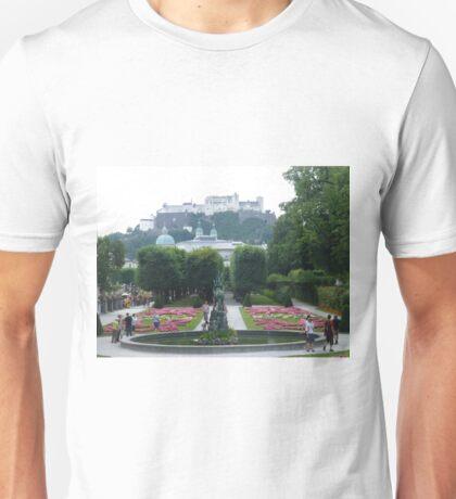 Mirabell Gardens & Hohensalzburg Castle in Salzburg, Austria Unisex T-Shirt
