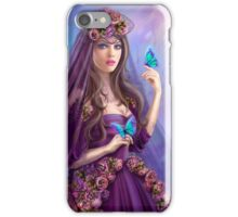 Beautiful woman fairy and blue butterflies.  iPhone Case/Skin