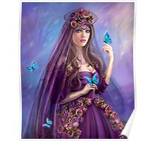 Beautiful woman fairy and blue butterflies.  Poster