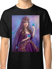 Beautiful woman fairy and blue butterflies.  Classic T-Shirt