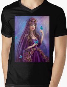 Beautiful woman fairy and blue butterflies.  Mens V-Neck T-Shirt